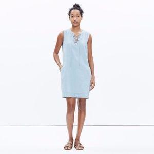Madewell Chambray Lace Up Shift Dress XXS